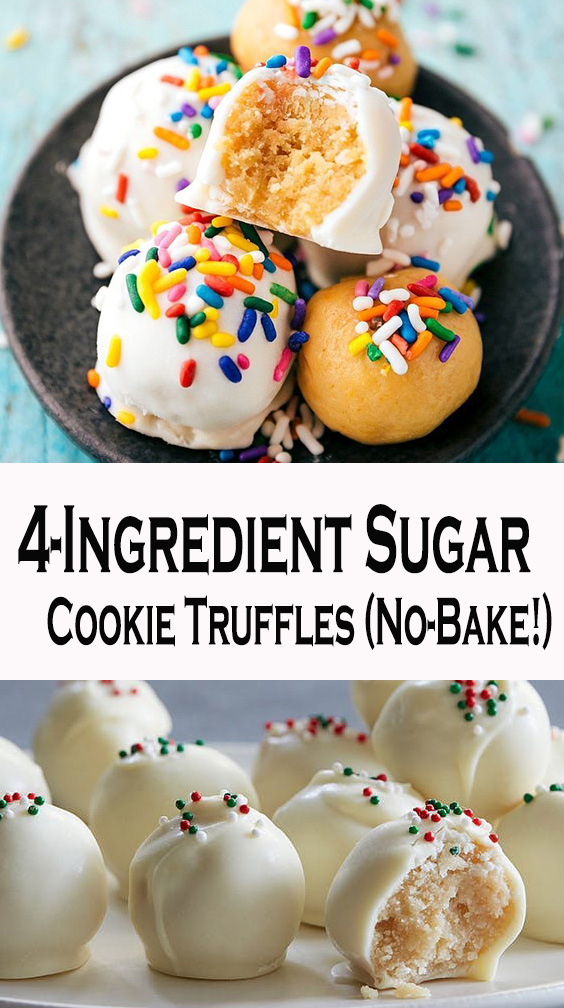 4-Ingredient Sugar Cookie Truffles (No-Bake!)