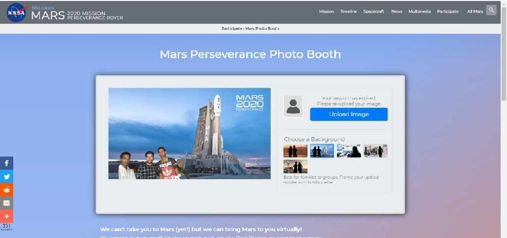 #Mars Perseverance Photo Booth