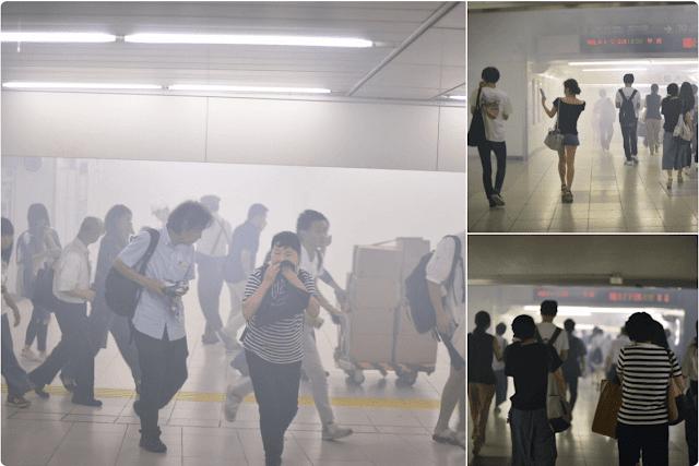 A Maior Estação de Trens de Tokyo foi parcialmente evacuada ontem por causa de uma perigosa nuvem de fumaça