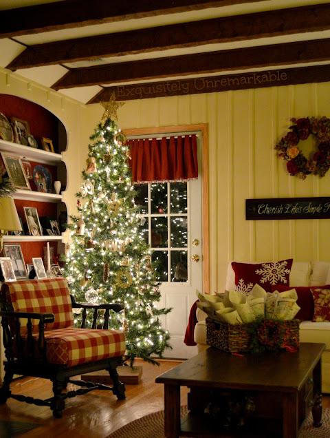 Rustic Christmas Living Room at night