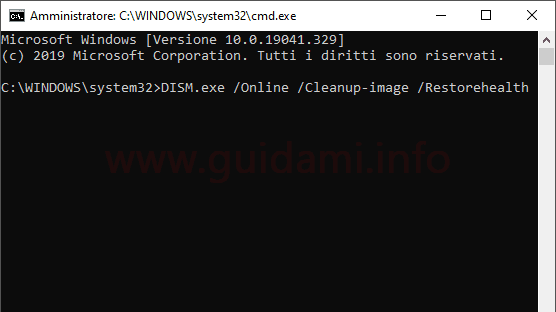 Windows 10 Prompt dei comandi restorehealth