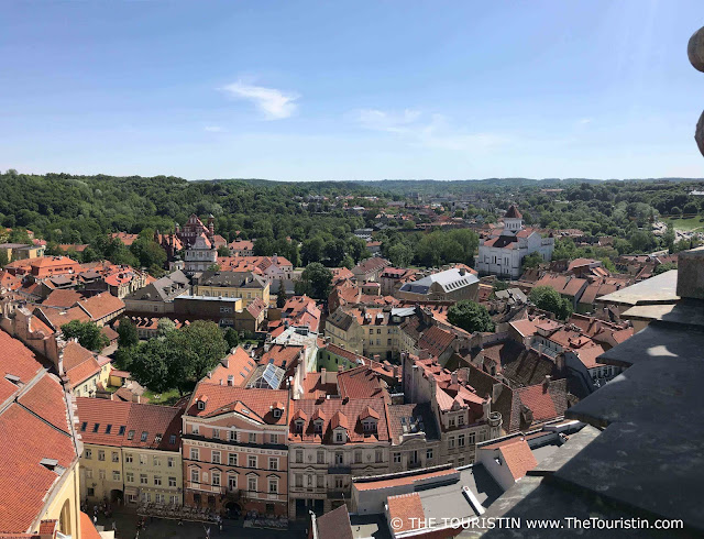 View over the red rooftops of the Old Town in Vilnius in Lithuania