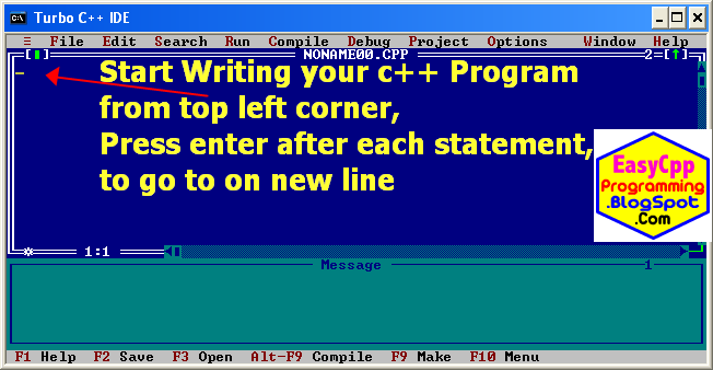 typing the C++ program in new file.
