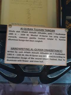 Alquran ditulis tangan di Kesultanan Ternate
