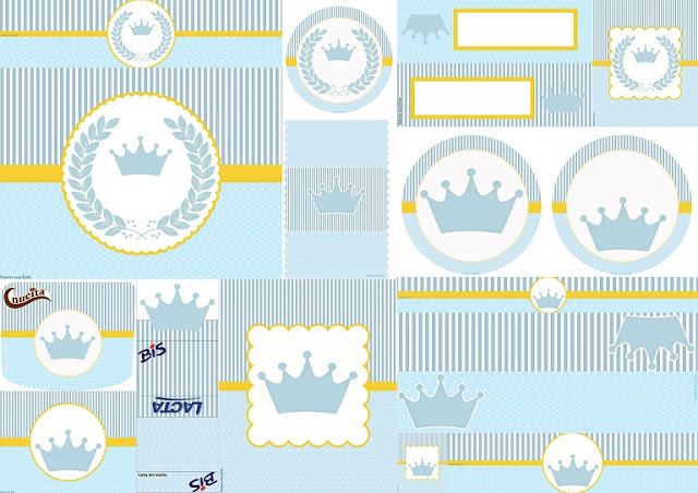 Light Blue Crown Free Printable Labels.