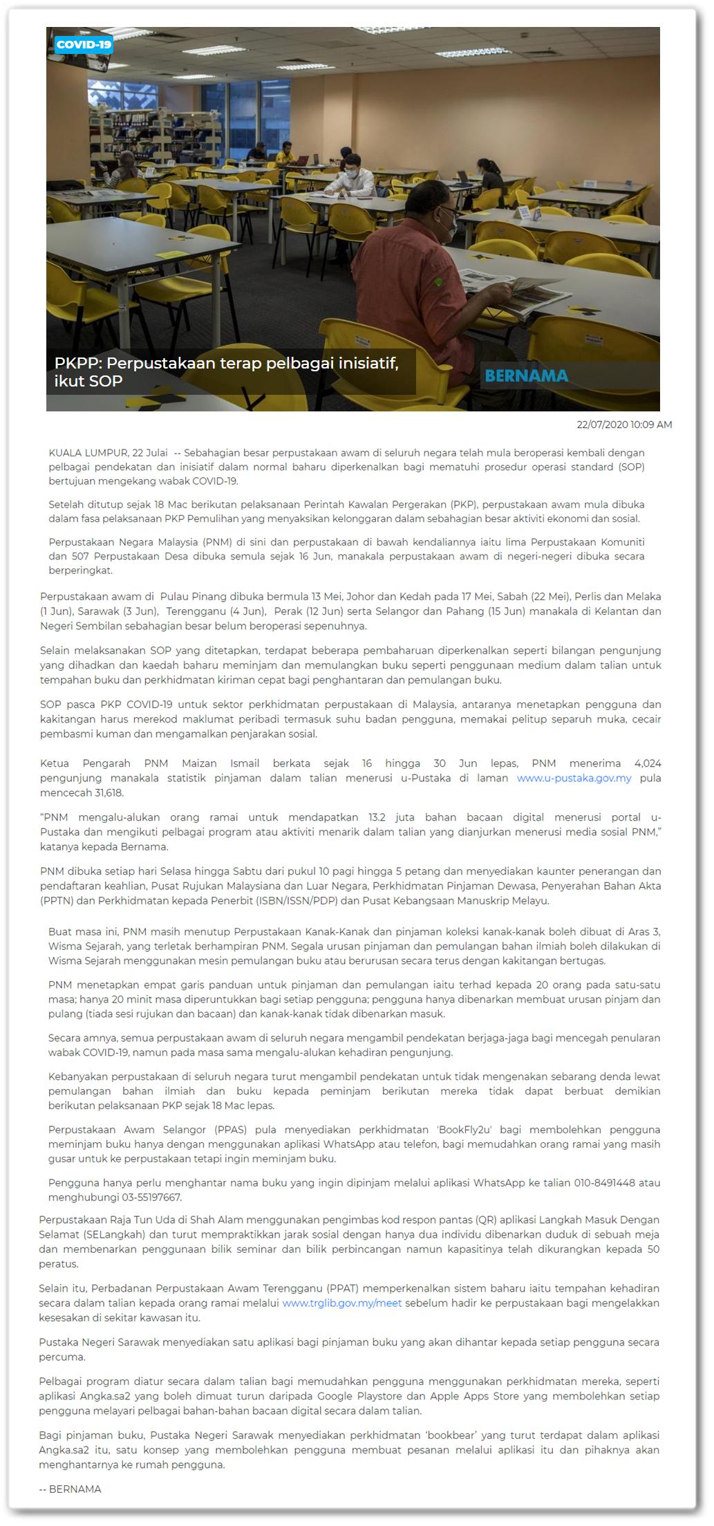 PKPP : Perpustakaan terap pelbagai inisiatif, ikut SOP - Keratan berita online Bernama 22 Julai 2020