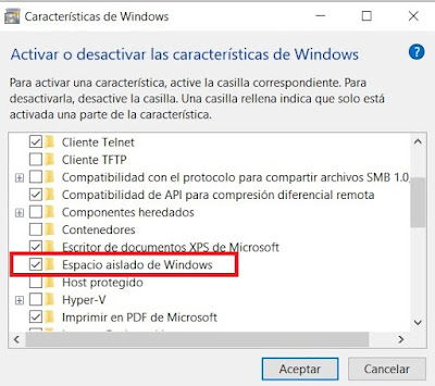 Espacio aislado de Windows