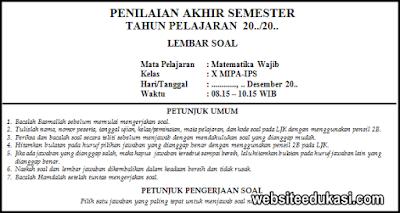Soal Pas Matematika Wajib Kelas 10 K13 Tahun 2020 2021 Websiteedukasi Com