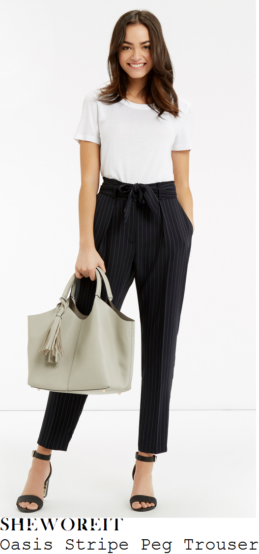 mollie-king-oasis-navy-blue-and-white-pinstripe-print-high-waisted-tie-detail-tapered-peg-trousers