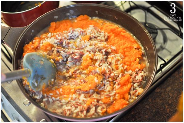 risoto de carne seca com abóbora