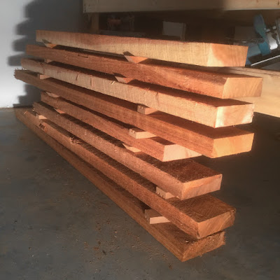 Rough cut Pacific Cedar, 2 X 6 boards, soon to be a bird feeder, Coast Chimes