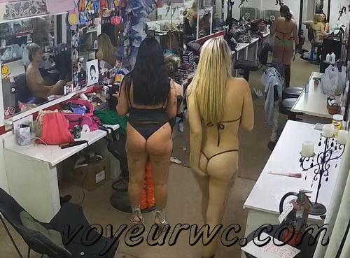 Pretty strippers getting ready - SpyCam (Strip club Dressing room 01)
