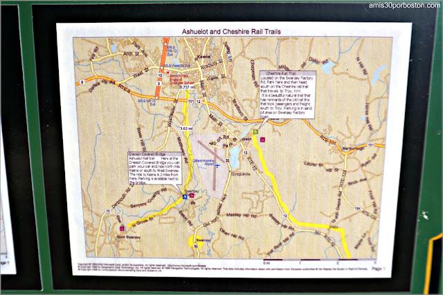 Mapas en el Cartel del Ashuelot y Cheshire Rail Trail en New Hampshire