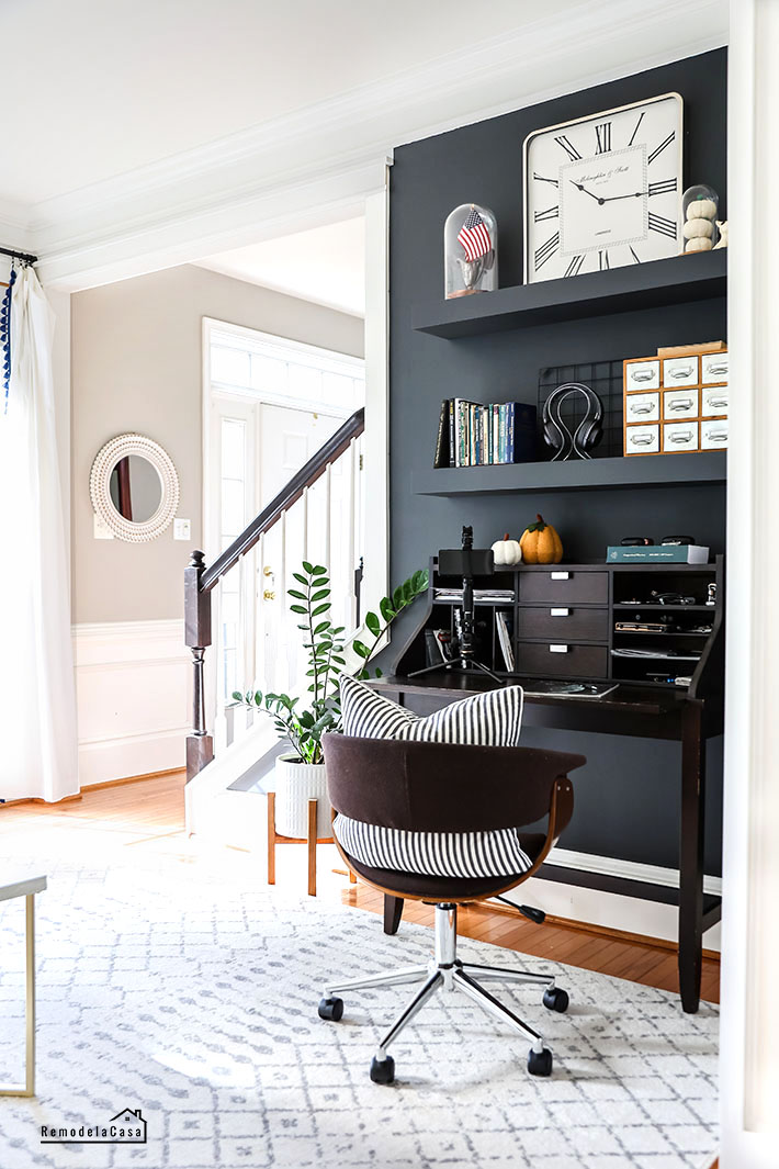 Fall home decor - dark accent wall