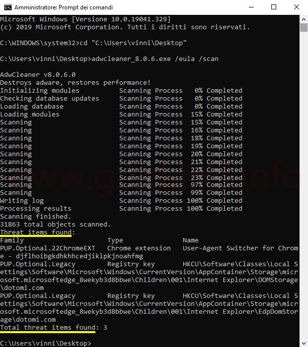 AdwCleaner eseguito nel Prompt dei comandi di Windows