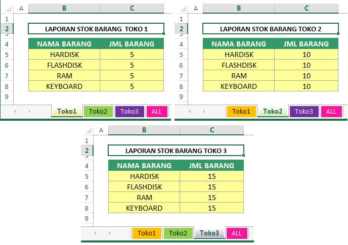 cara menggabungkan Tabel di Excel dengan Consolidate