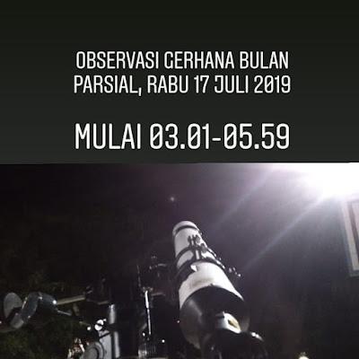 Observasi Gerhana Bulan Parsial oleh Tim BHR (Badan Hisab dan Rukyat) RIAB (Rabu, 17 Juli 2019)
