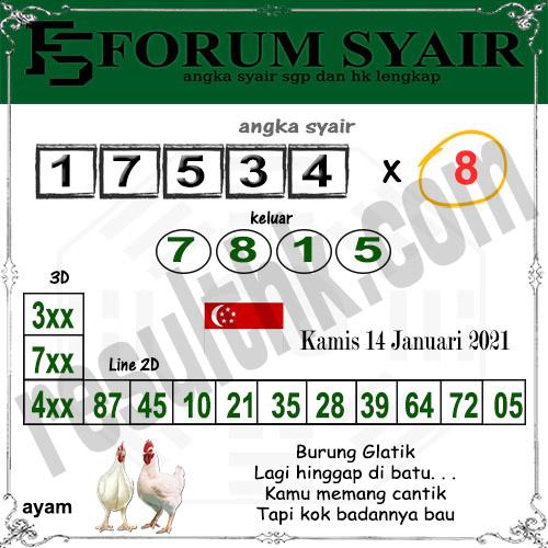 Forum Syair SGP Kamis 14 Januari 2021
