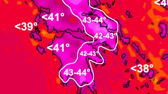 Γ.Καλλιάνος: 42 με 43 βαθμούς η θερμοκρασία την Πέμπτη στην Αργολίδα