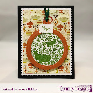 Stamp/Die Duos: Deer Ornament ,Paper Collection: Retro Christmas, Custom Dies: Scalloped Rectangles, Scalloped Circles