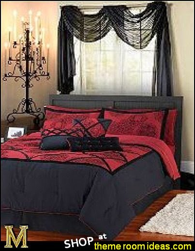 Gothic Teens Bedroom With Black Red Bedding And Candle Holder , Gothic Teens Bedroom