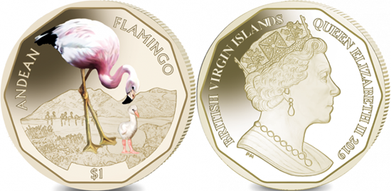 British Virgin Islands dollar 2019 - Andean Flamingo