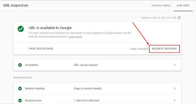 Request Indexing Google Seach Console