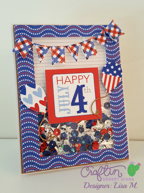 Red, White & Blue July 4th Shaker Card filled with red, blue, silver sequins