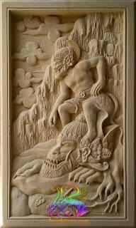 relief hanoman dari batu alam