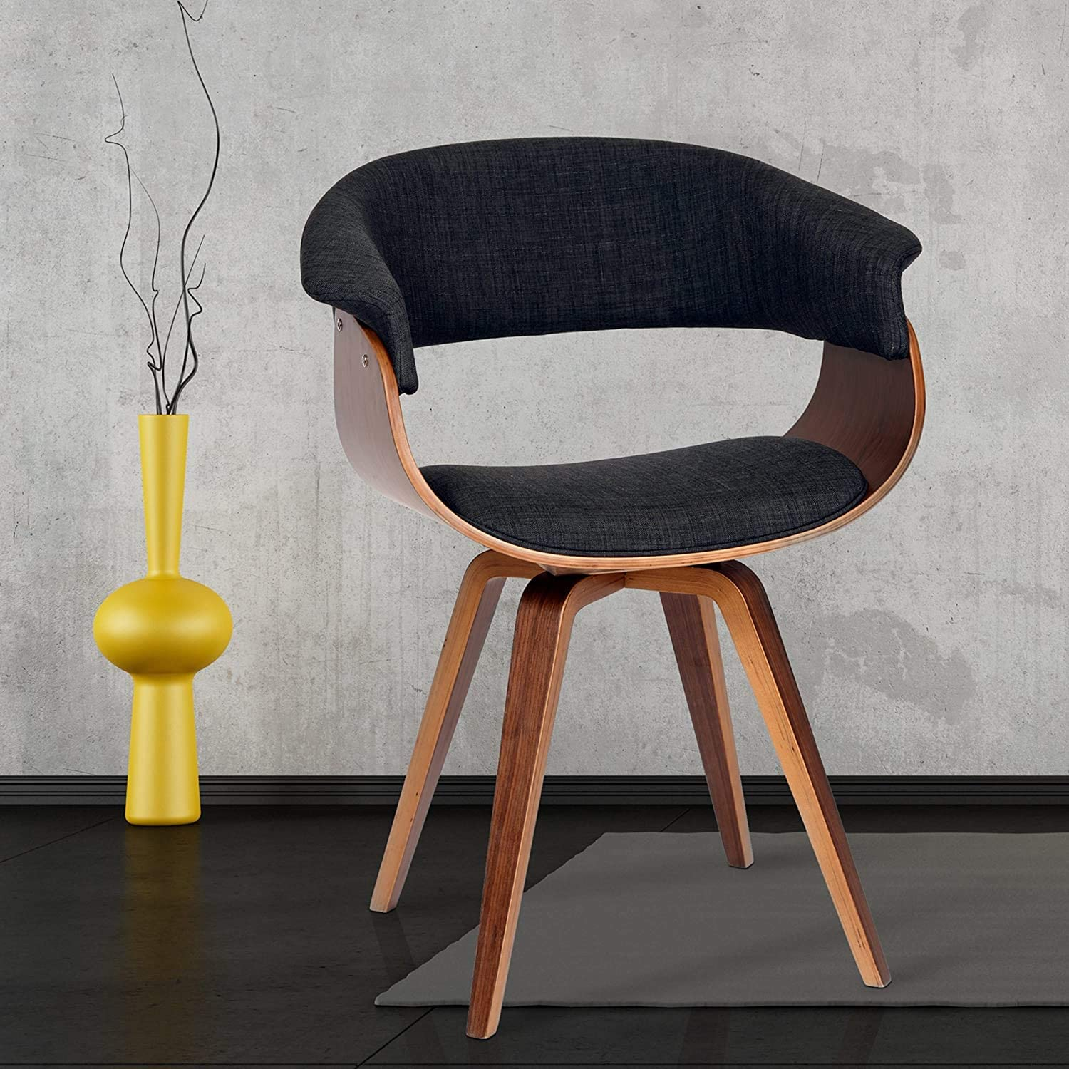 Best Seller on 2021 Mid-Century Armen Minimalist livingroom contemporary Chair with charcoal fabric and Walnut wood finish