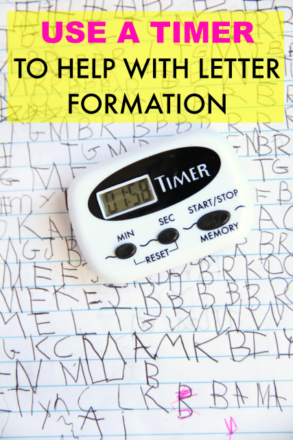 How to use a timer to help kids work on letter formation, handwriting skills, legibility, speed, and accuracy of written work.