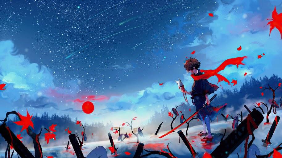 Anime, Warrior, Katana, Mask, Night, 4K, #4.2460 Wallpaper