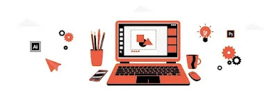 illustration of laptop with graphic design