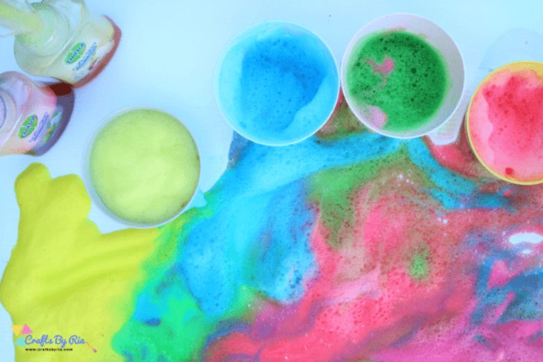 rainbow soap foam summer activities for preschoolers
