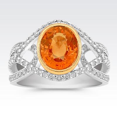 nhẫn đá sapphire cam
