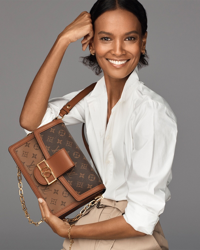 Liya Kebede and Rebecca Leigh pose for the Louis Vuitton 2021 Dauphine Bag Campaign