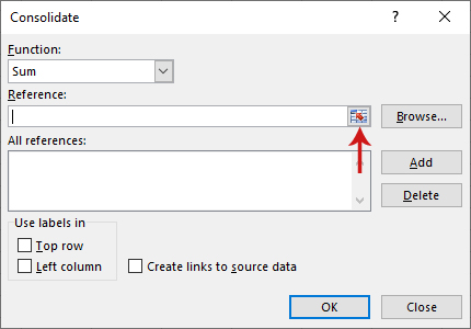 دمج بيانات عدة صفحات في صفحة واحدة في برنامج Excel