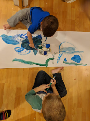 painting wrapping paper with toddlers