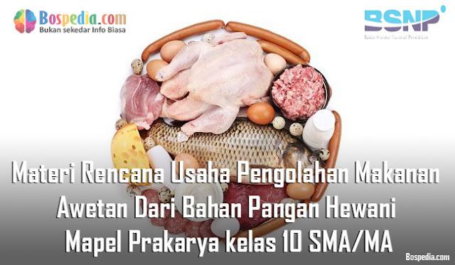 Materi Rencana Usaha Pengolahan Makanan Awetan Dari Bahan Pangan Hewani Mapel Prakarya kelas 10 SMA/MA
