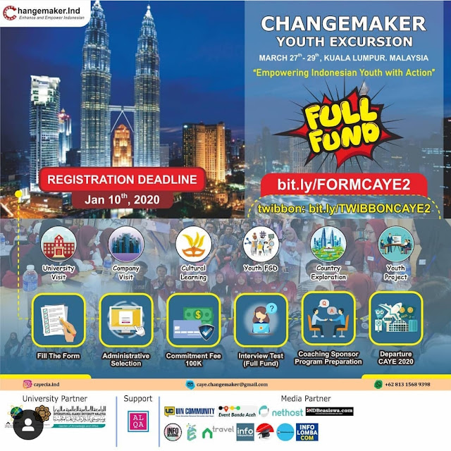 FULLY FUNDED, CHANGEMAKER YOUTH EXCURSION 2020 II 27-28 Maret II Kuala Lumpur, Malaysia