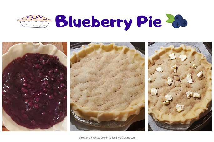 a collage photo of how to make old fashioned blueberry pie