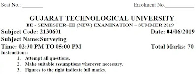 BE Exam Papers of SURVEYING SUMMER 2019 [Download] | Surveying GTU Exam Papers 2130601 PDF 2019 | 2130601 GTU Paper PDF Download BE Civil