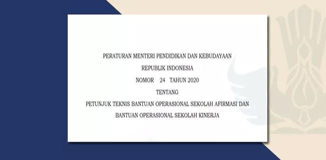 Permendikbud Nomor 24 Tahun 2020 Juknis BOS Afirmasi BOS Kinerja