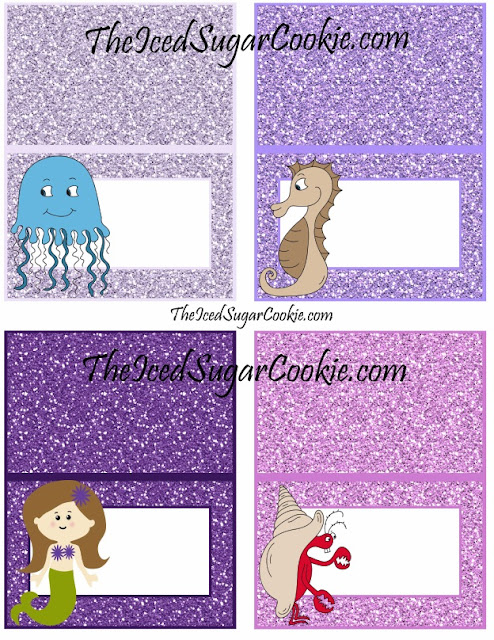 DIY Mermaid Food Label Tent Cards you can print and cutout yourself.  Ocean Water, Under The Sea Cupcakes, Seaweed, Glitter Sea Shells