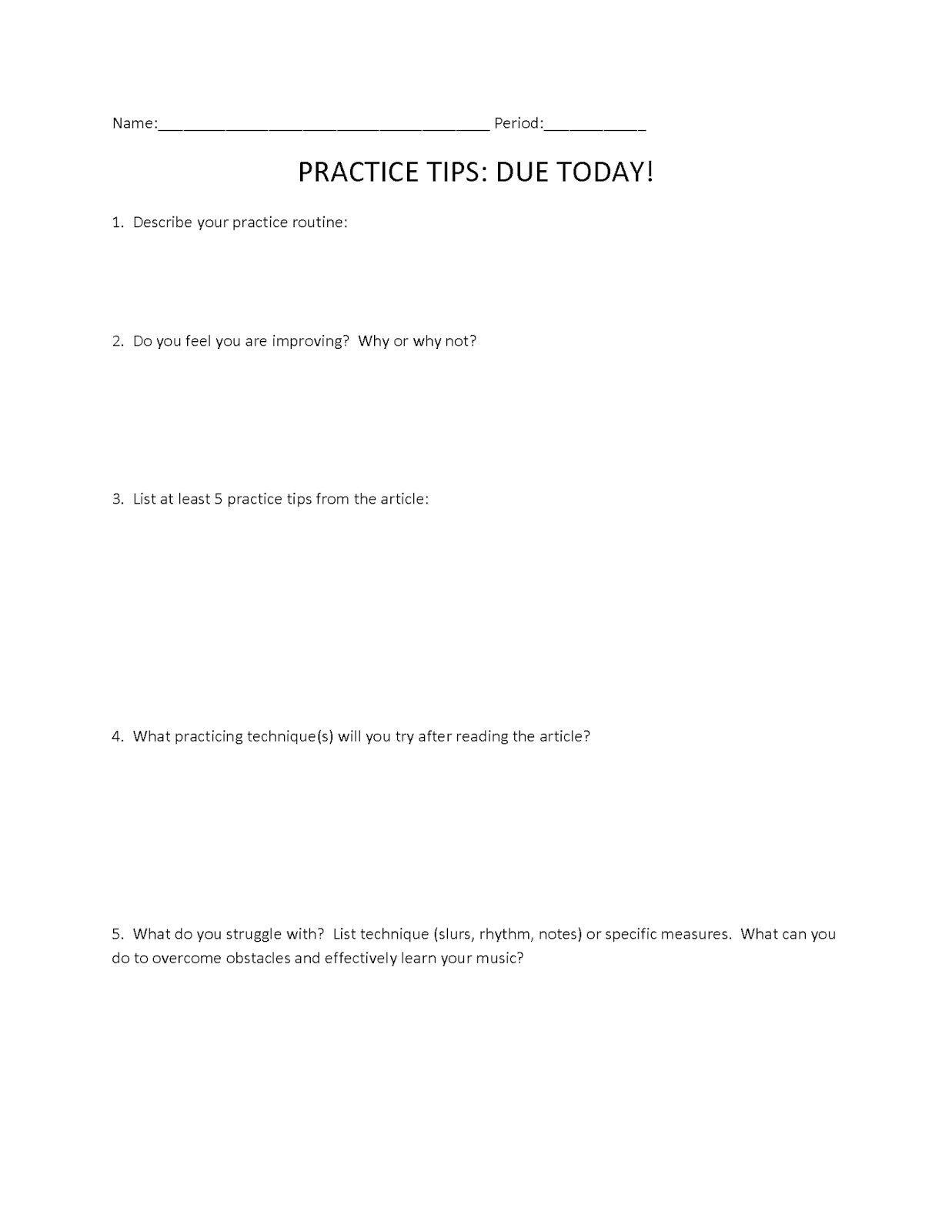 Orchestra Classroom Ideas – Substitution Method Worksheet