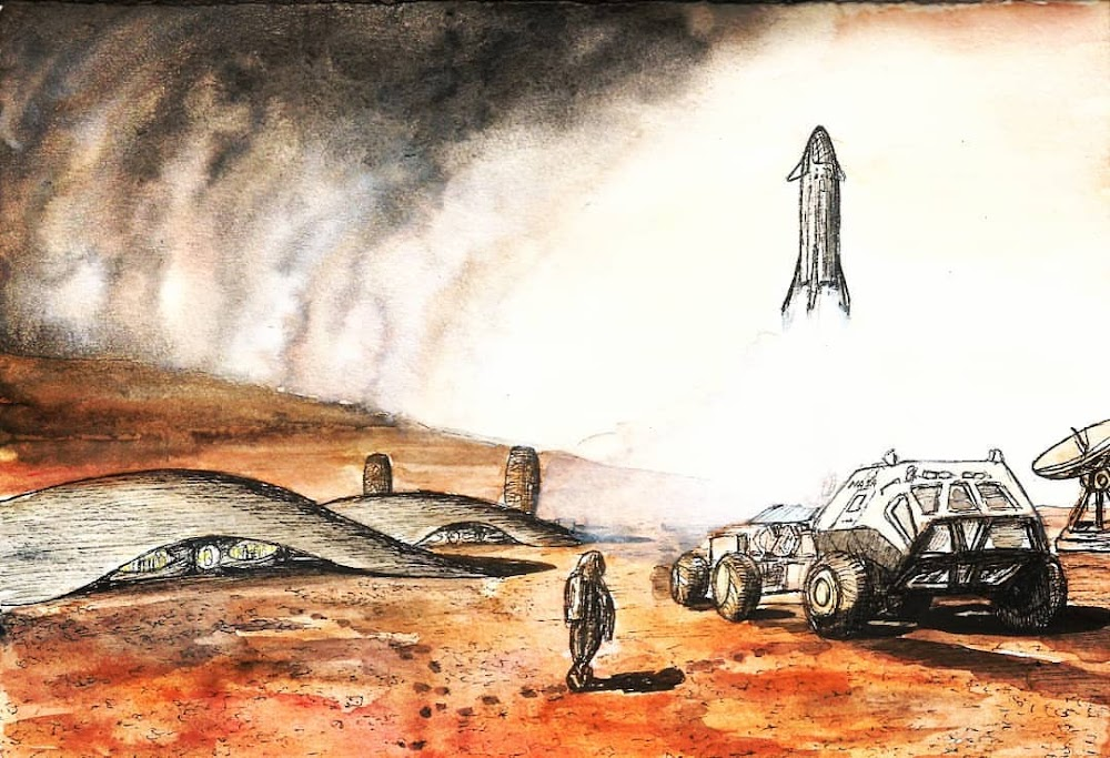 Sketch of SpaceX Starship landing at Mars base by Colin Doublier