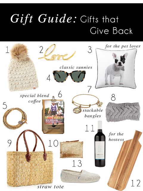 give back gift guide 2016 shit that i knit beanie warby parker reilly sunglasses west elm st jude love paperweight frenchie pillow alex and annie bangles special olympics conscious cup coffee headbands for hope one hope wine straw tote toms shoes cutting board cheese board