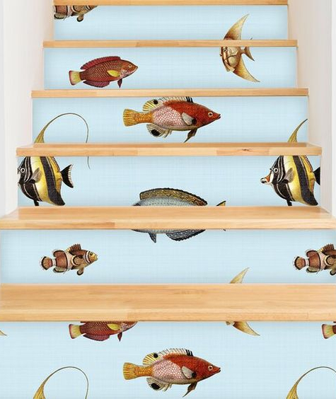 Under the Sea Ocean Stair Risers Wallpaper Covered