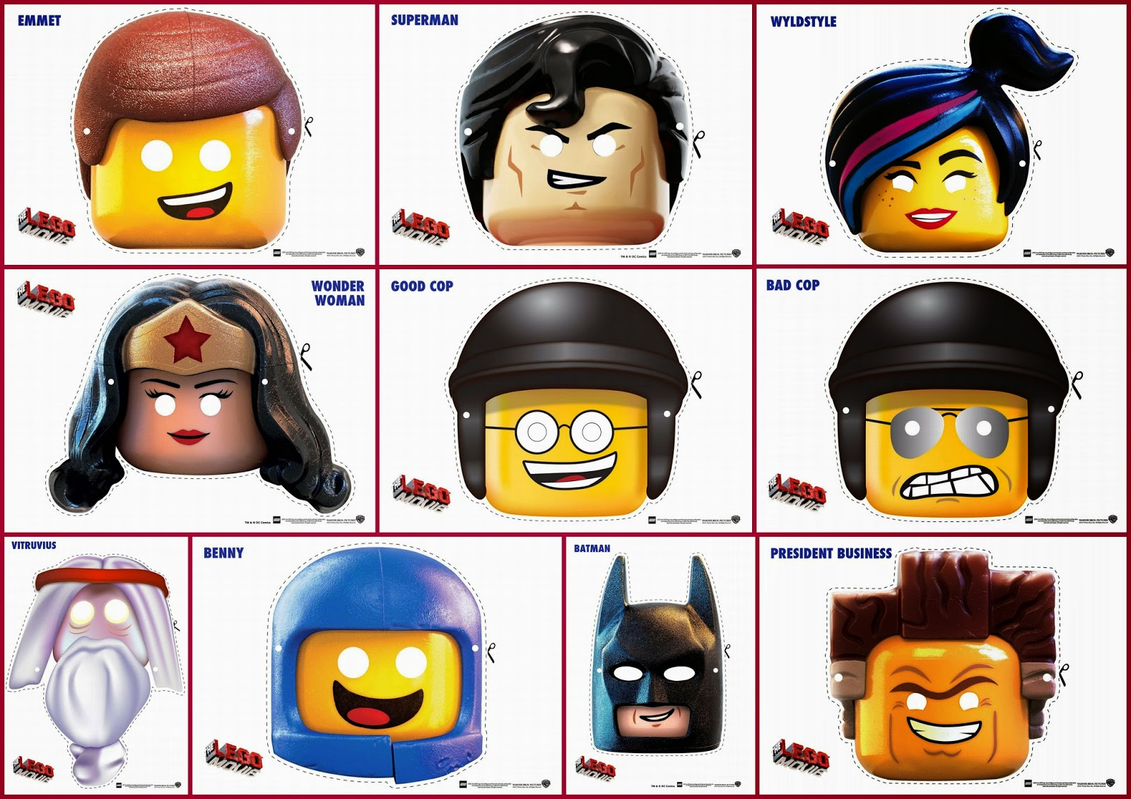 Lego Movie Free Printable Masks.