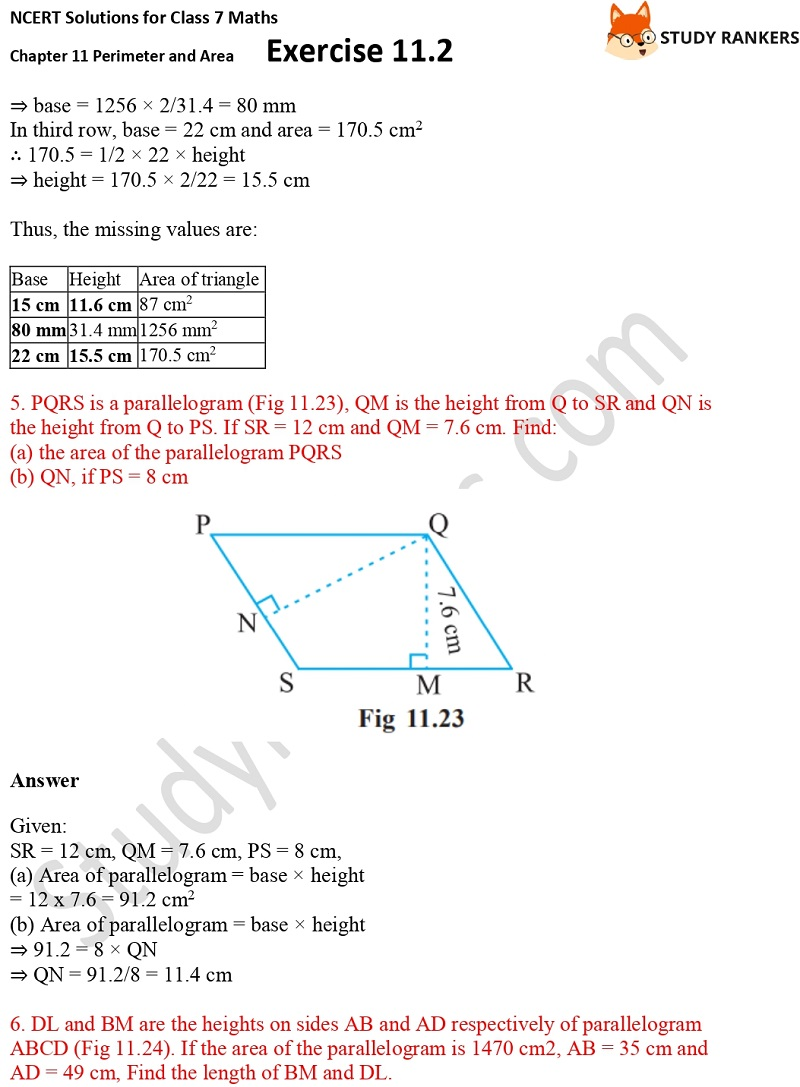 NCERT Solutions for Class 7 Maths Ch 11 Perimeter and Area Exercise 11.2 4